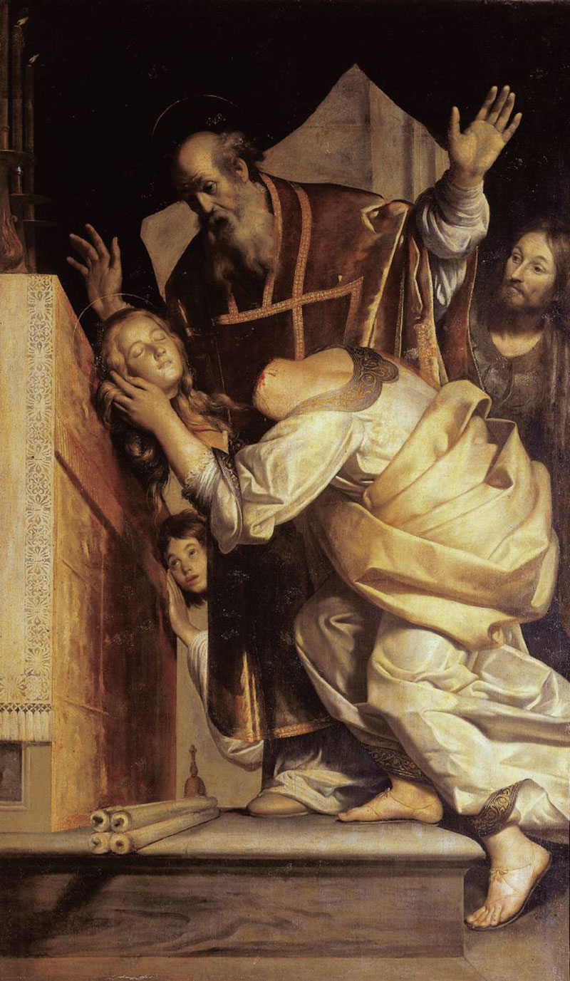 Giovanni Antonio Galli detto lo Spadarino, Santa Valeria dopo la decapitazione porta la propria testa a san Marziale (1629-1632; olio su tela, 320 x 186 cm; Città del Vaticano, Basilica di San Pietro, sala capitolare)