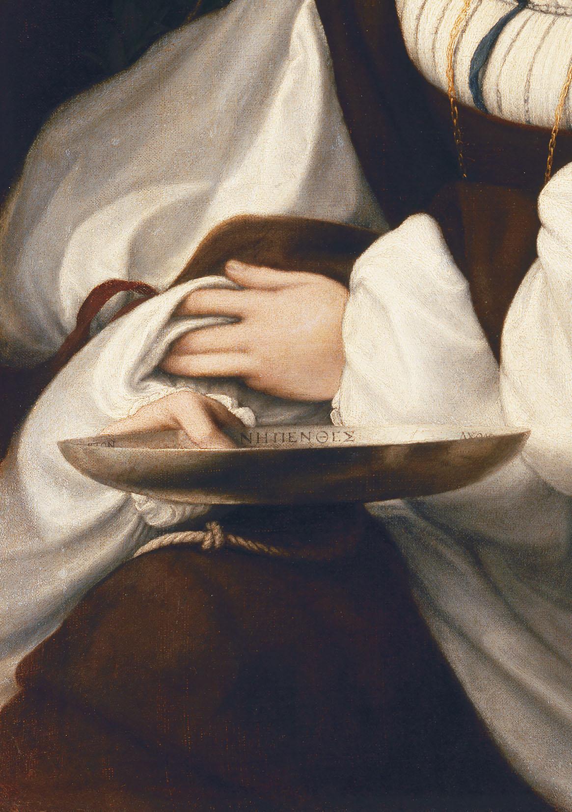 Correggio (Antonio Allegri), Ritratto di giovane donna, dettaglio della coppa