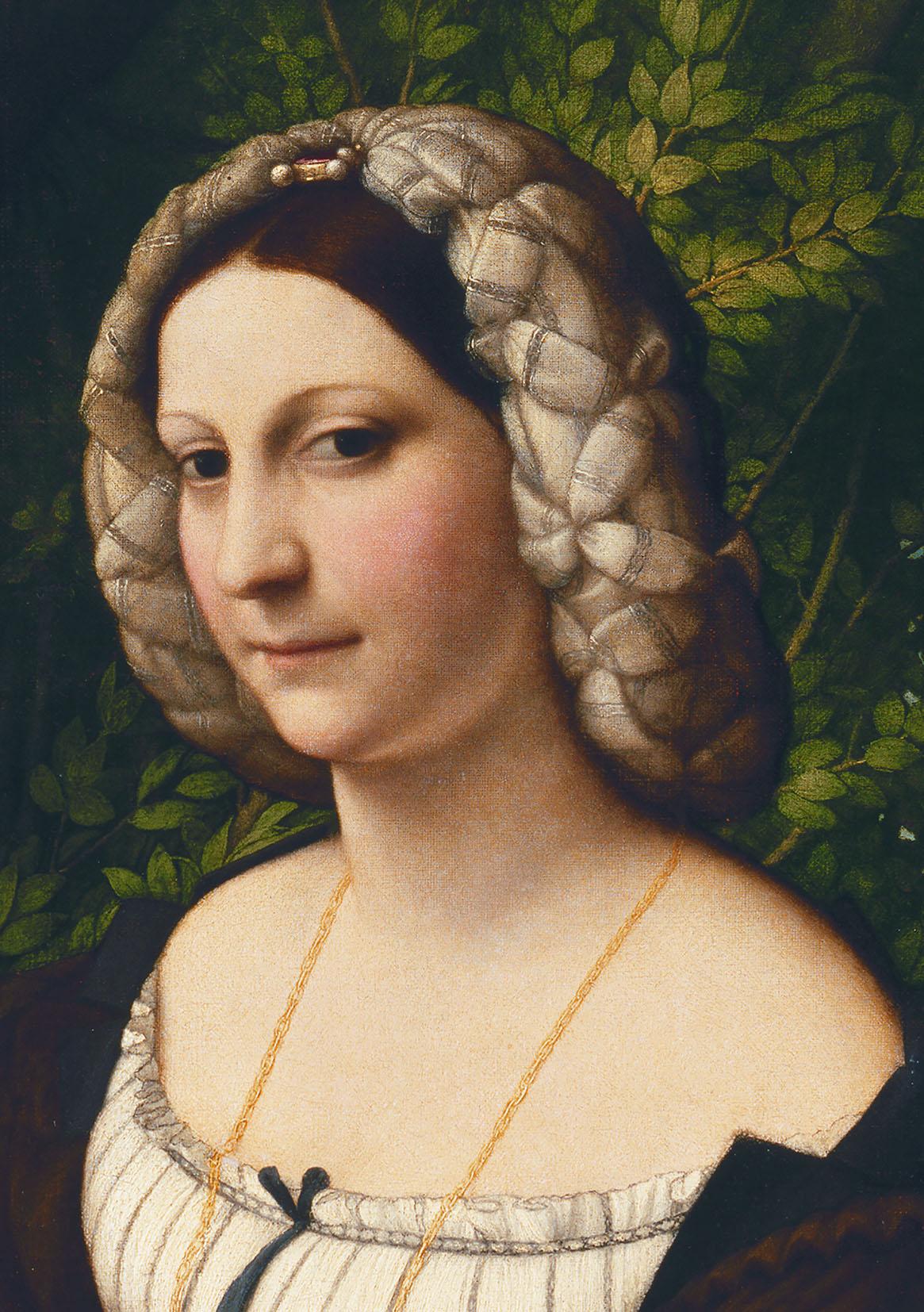 Correggio (Antonio Allegri), Ritratto di giovane donna, dettaglio del volto