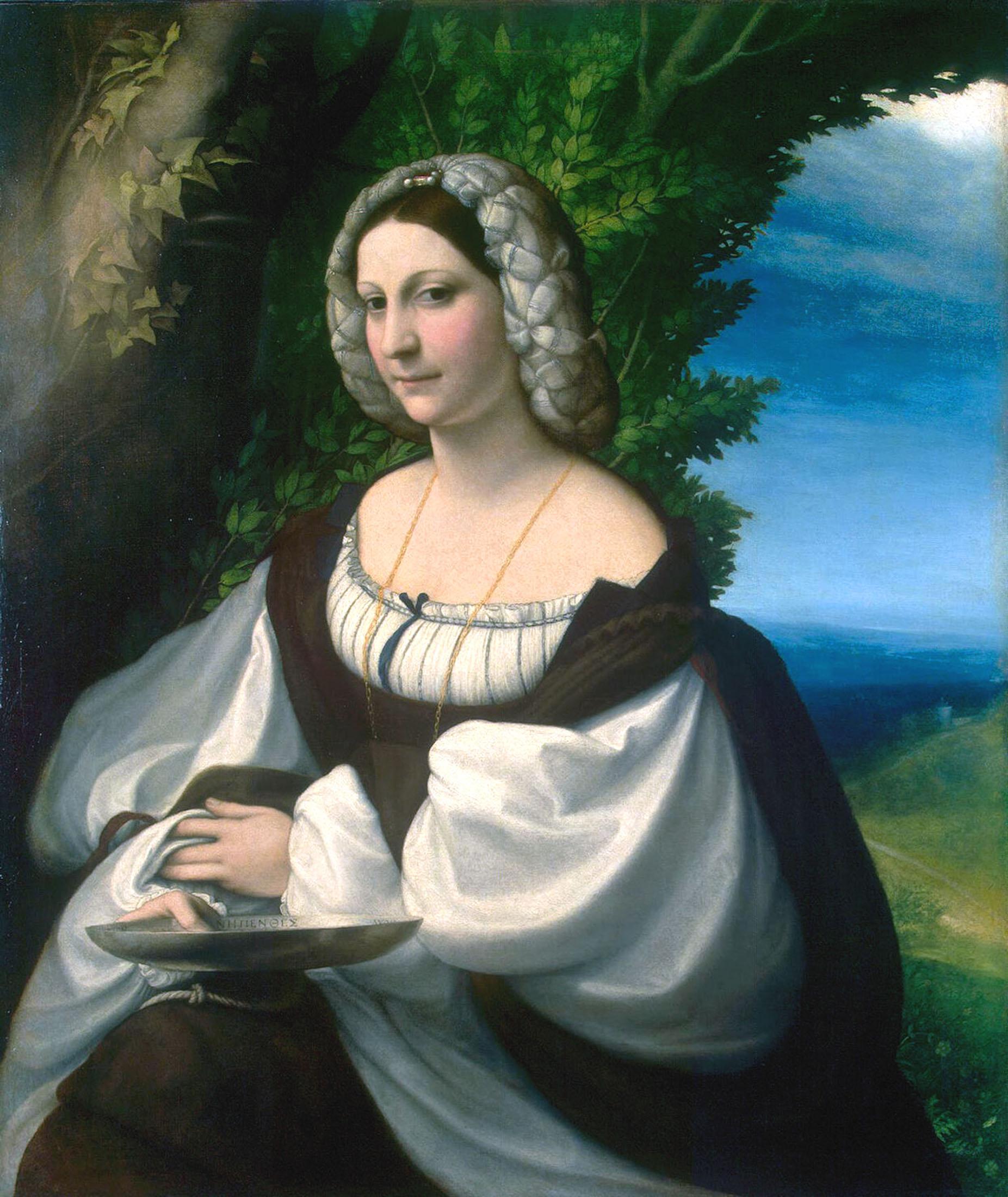 Correggio (Antonio Allegri), Ritratto di giovane donna (1520 circa; olio su tela, 103 x 87,5 cm; San Pietroburgo, Hermitage)