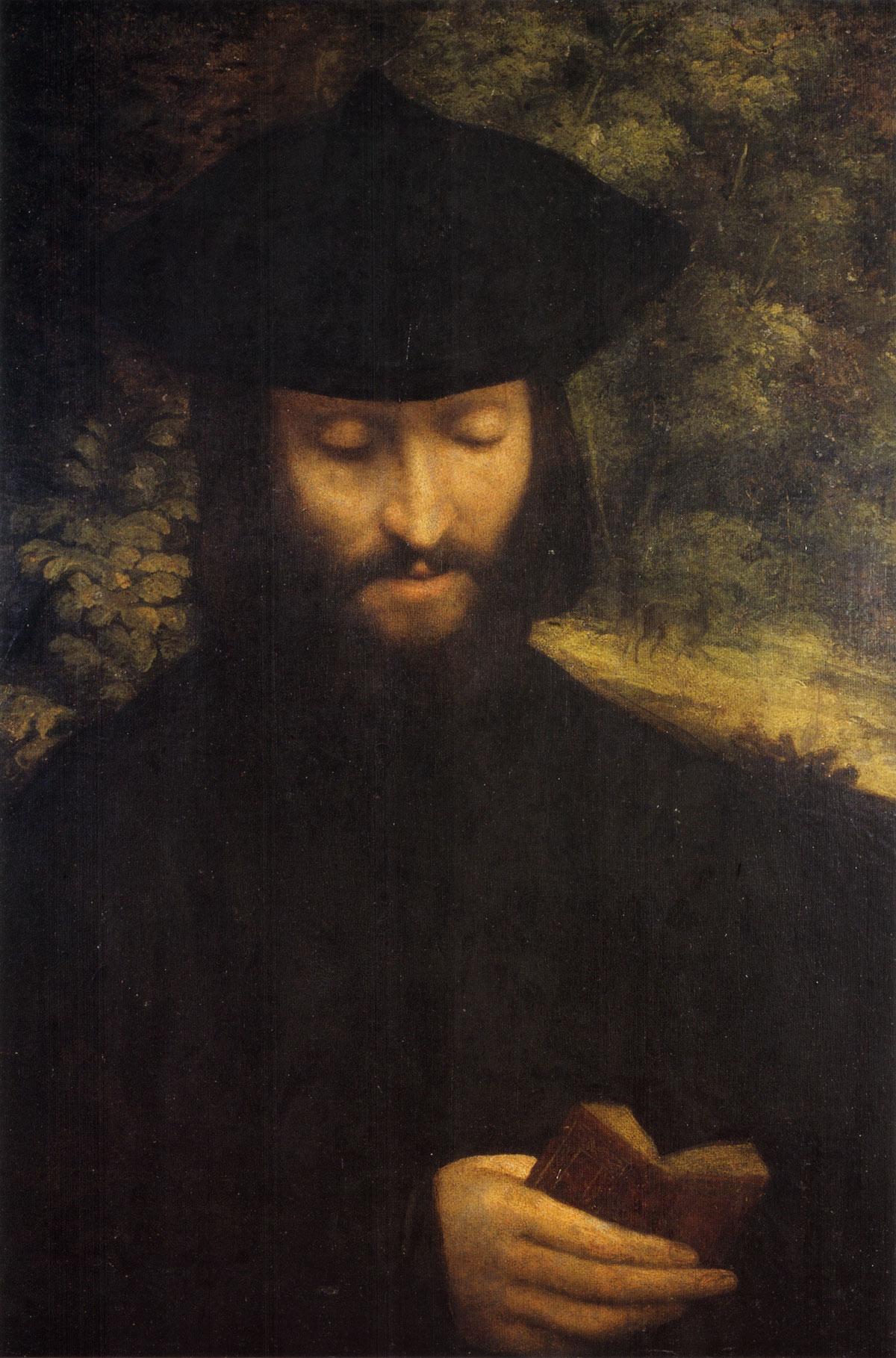 Correggio (Antonio Allegri), Ritratto d'uomo con libro (1522 circa; olio su carta fissato su tela, 60,2 x 42,5 cm; Milano, Castello Sforzesco, Pinacoteca)