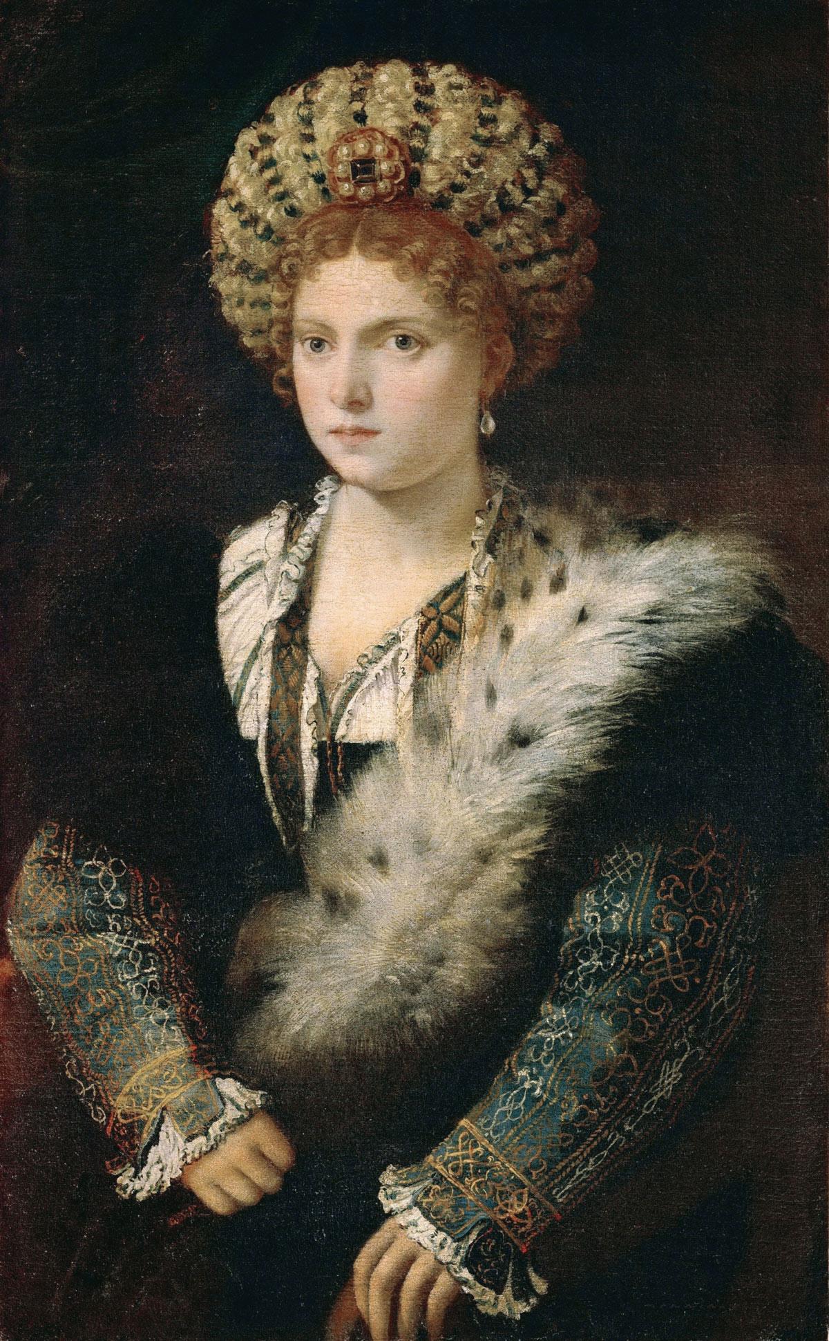 Tiziano, Ritratto di Isabella d'Este (1534-1536; olio su tela, 102,4 x 64 cm; Vienna, Kunsthistorisches Museum)