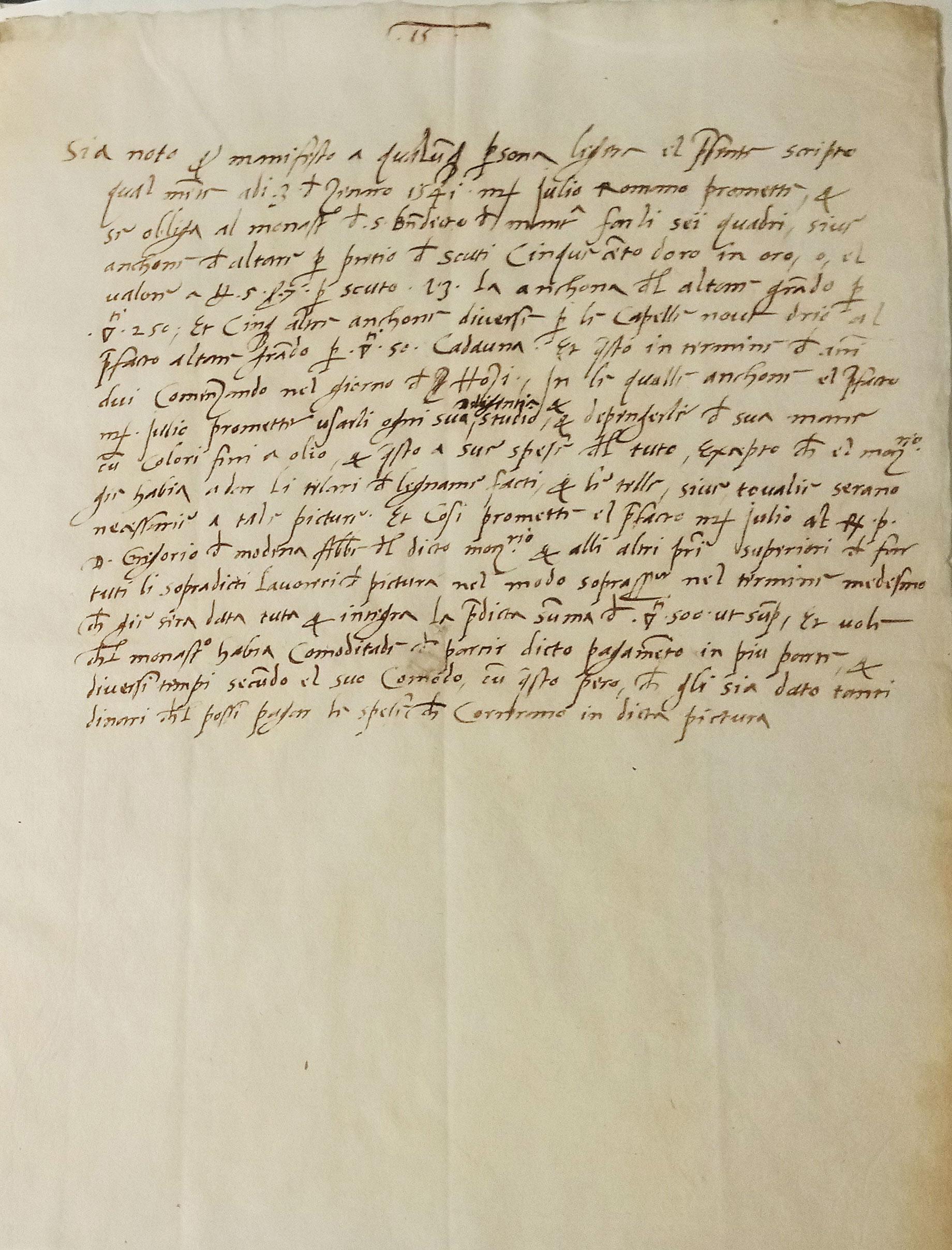 Accordo tra il monastero di San Benedetto in Polirone e Giulio Romano per l'esecuzione di sei ancone d'altare (3 gennaio 1541; penna e inchiostro su carta, 210 x 285 mm; Mantova, Archivio di Stato)