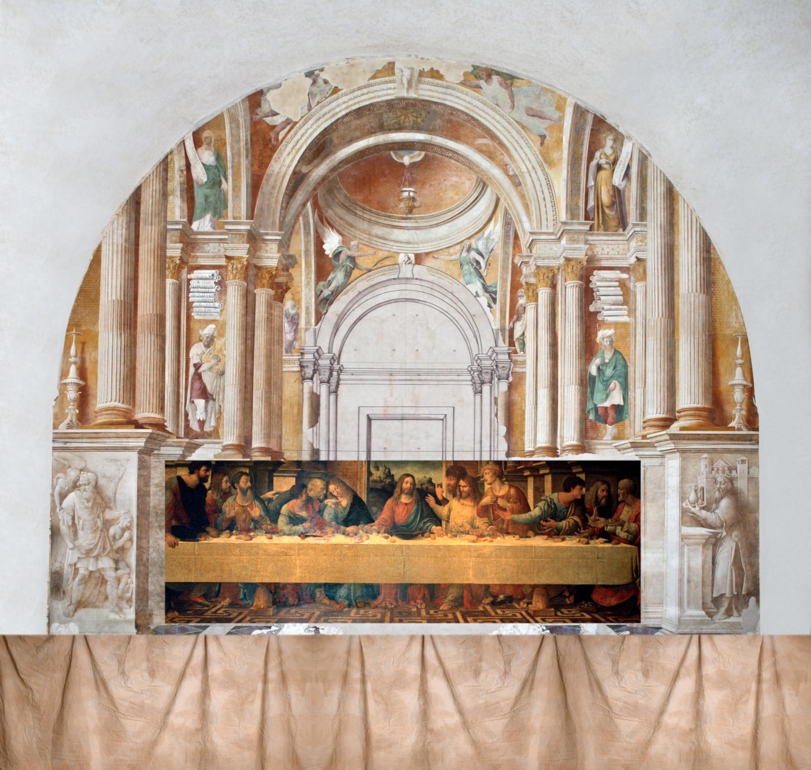 Correggio o Girolamo Bonsignori (attribuito a), Ambientazione architettonica del Cenacolo di Girolamo Bonsignori (1514 circa; affresco e interventi a secco, 1170 x 1135 cm; San Benedetto Po, Refettorio Grande)