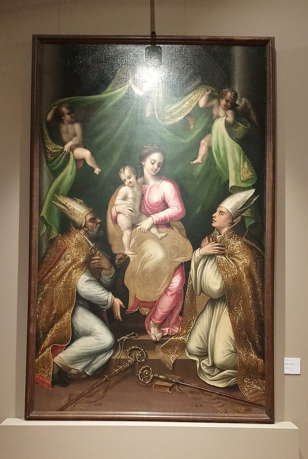 Fermo Ghisoni, Madonna col Bambino tra i santi Ambrogio e Bernardo (1542 circa; olio su tela, 295 x 190 cm; San Benedetto Po, Basilica)