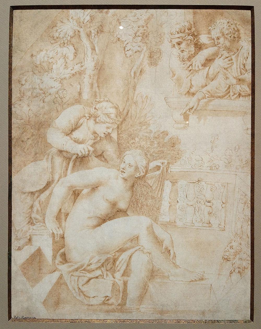 Giulio Romano, David e Betsabea al bagno (1531; penna e inchiostro bruno, pennello e acquerello bruno con tracce di gessetto nero su carta preparata marroncina, 365 x 281 mm; Collezione privata)