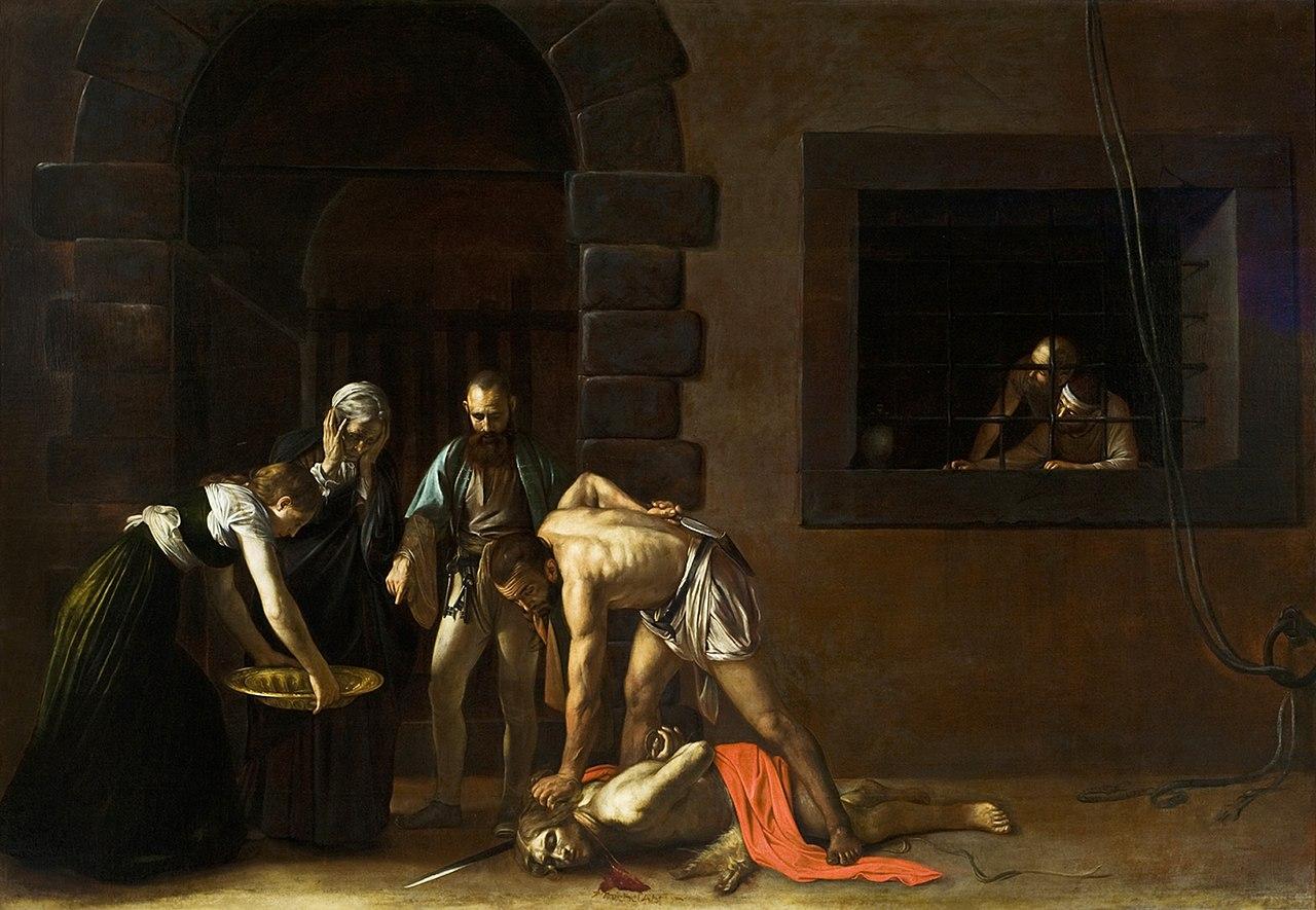 Caravaggio, Decollazione del Battista (1608; olio su tela, 361 x 520 cm; La Valletta, Oratorio di San Giovanni Decollato)