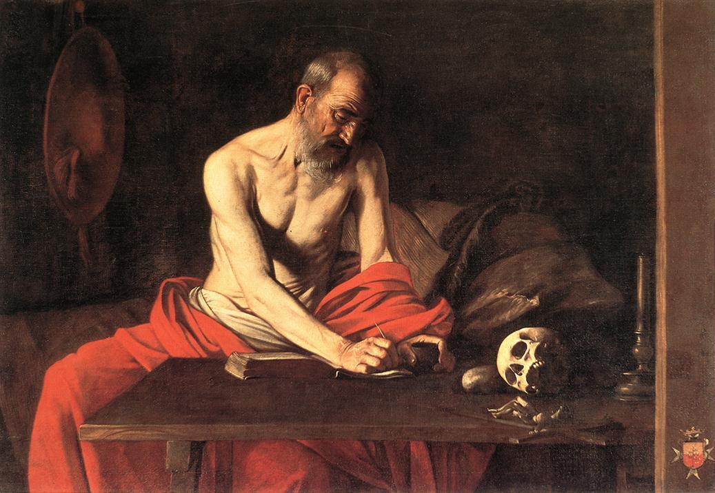 Caravaggio, San Girolamo scrivente (1608; olio su tela, 117 x 157 cm; La Valletta, Concattedrale di San Giovanni)