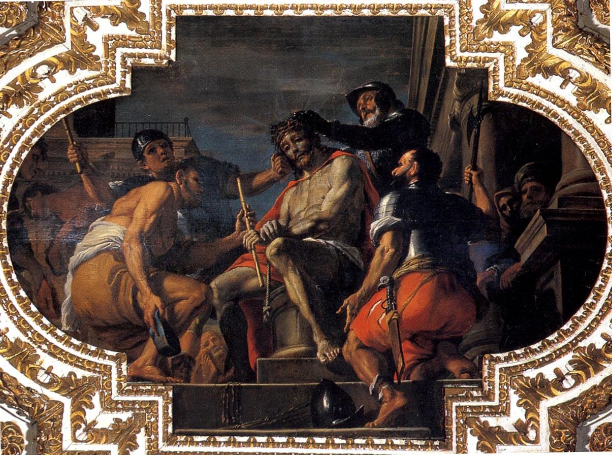 Mattia Preti, Cristo coronato di spine (1679-1689; olio su tela, 227 x 350 cm; La Valletta, Oratorio di San Giovanni Decollato)