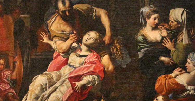 Domenichino, Martirio di sant'Agnese, dettaglio (1621-1625; olio su tela, 533 x 342 cm; Bologna, Pinacoteca Nazionale)