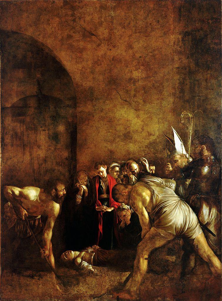 Caravaggio, Seppellimento di santa Lucia (1608; olio su tela, 408 x 300 cm; Siracusa, chiesa di Santa Lucia alla Badia)