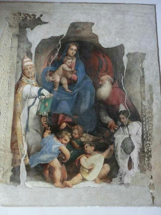 Giovanni Antonio de' Sacchis detto il Pordenone, Madonna con il Bambino tra i santi Silvestro papa, Girolamo, il donatore e angeli musicanti (1515 circa; affresco; Alviano, chiesa parrocchiale)