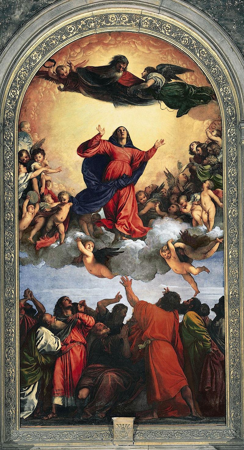 Tiziano Vecellio, Assunta (1516-1518; olio su tavola, 690 x 360 cm; Venezia, Basilica di Santa Maria Gloriosa dei Frari)