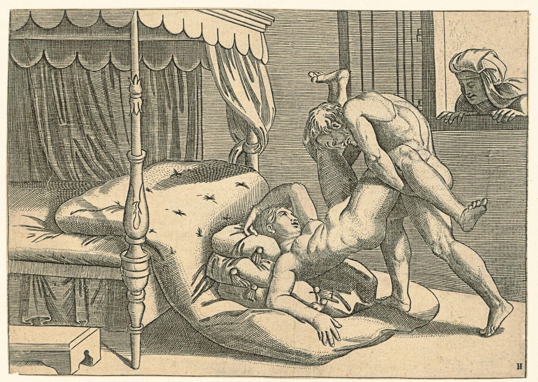 """Copia (speculare) da Marcantonio Raimondi (1480-1534 circa) dalla posizione 9 de I Modi, numerata """"II"""" (1530-1540; incisione a bulino, 134 x 188 mm; Vienna, Albertina)"""