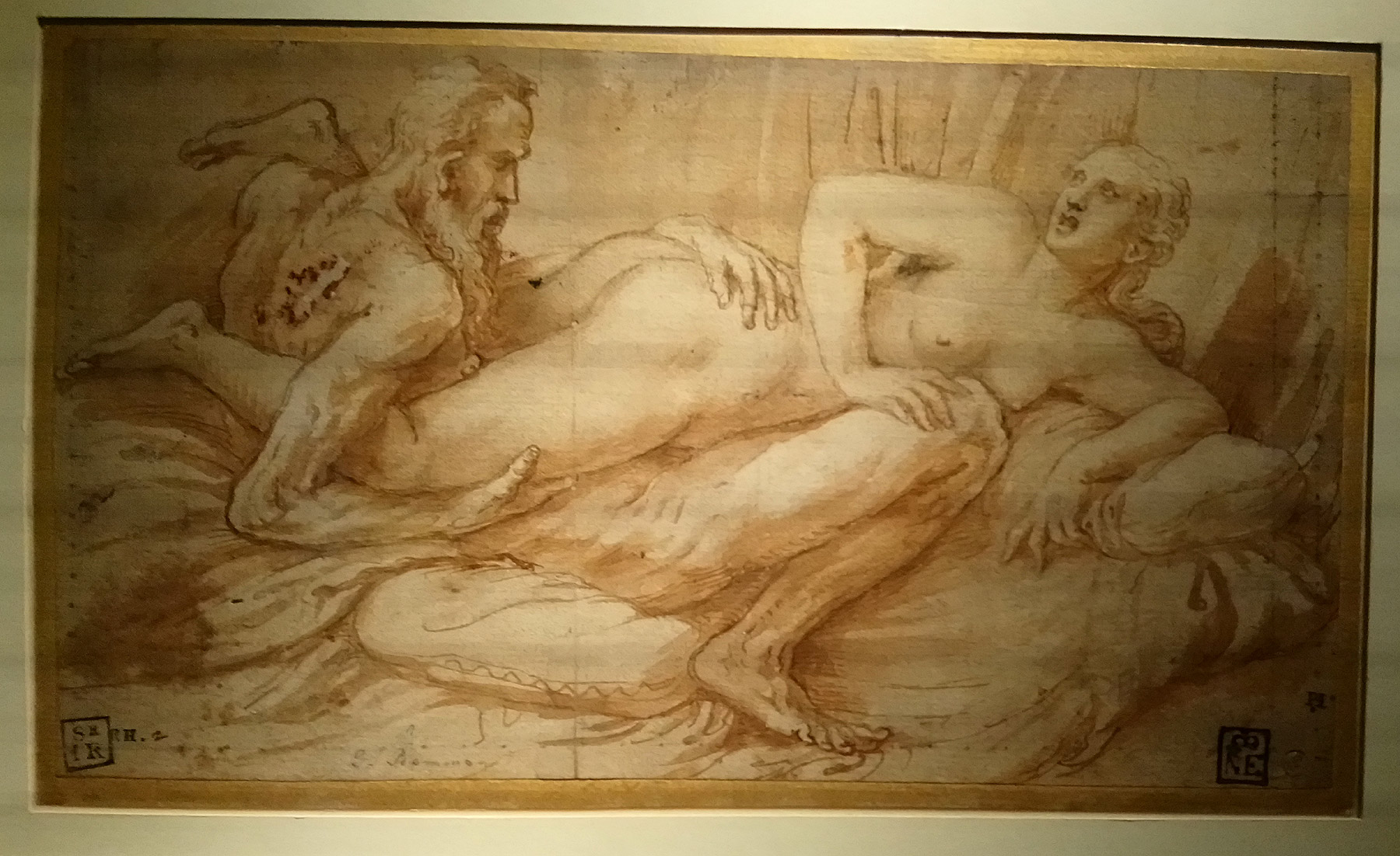 Giulio Romano, Due amanti (1525-1528 circa; penna, inchiostro, carboncino su carta, 130 x 226 mm; Budapest, Szépmúveszéti Múzeum)