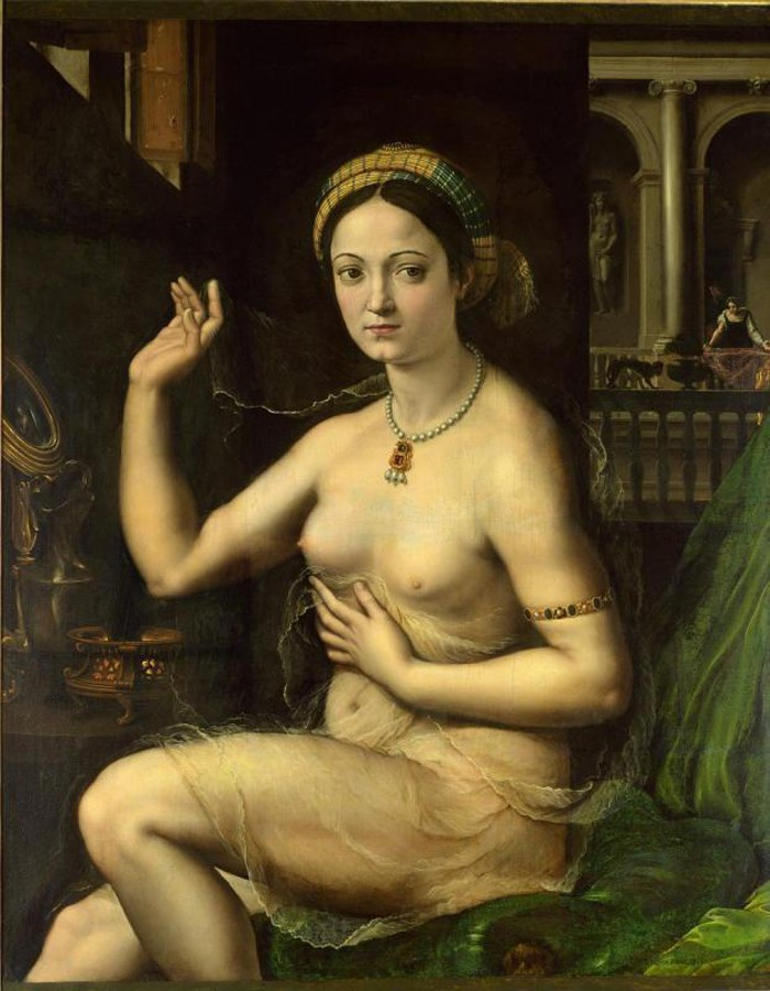 Giulio Romano, Ritratto di cortigiana (1521-1522 circa; olio su tela, 111 x 92 cm; Mosca, Museo Pushkin)