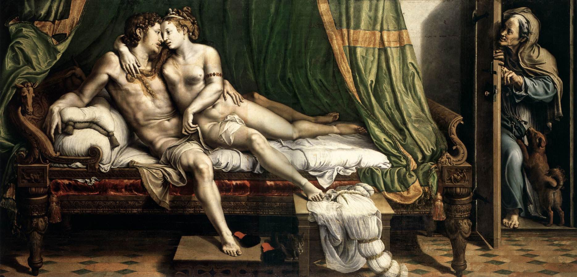 Giulio Romano, Due amanti (1524 circa; olio su tavola trasferito su tela; 163 x 337 cm; San Pietroburgo, Ermitage)