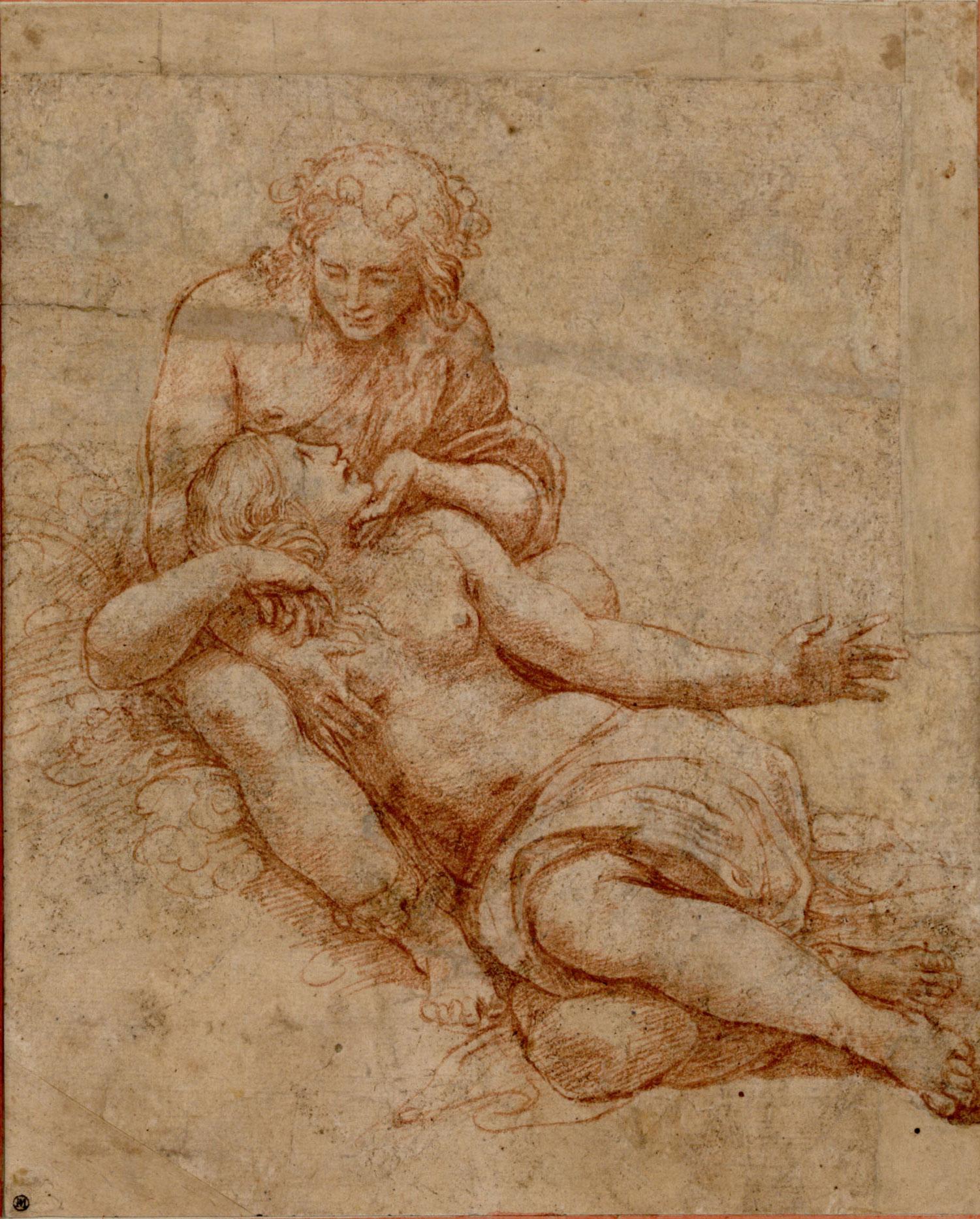 Giulio Romano, Venere e Adone (1516; disegno a sanguigna, 224 x 181 mm; Vienna, Albertina)