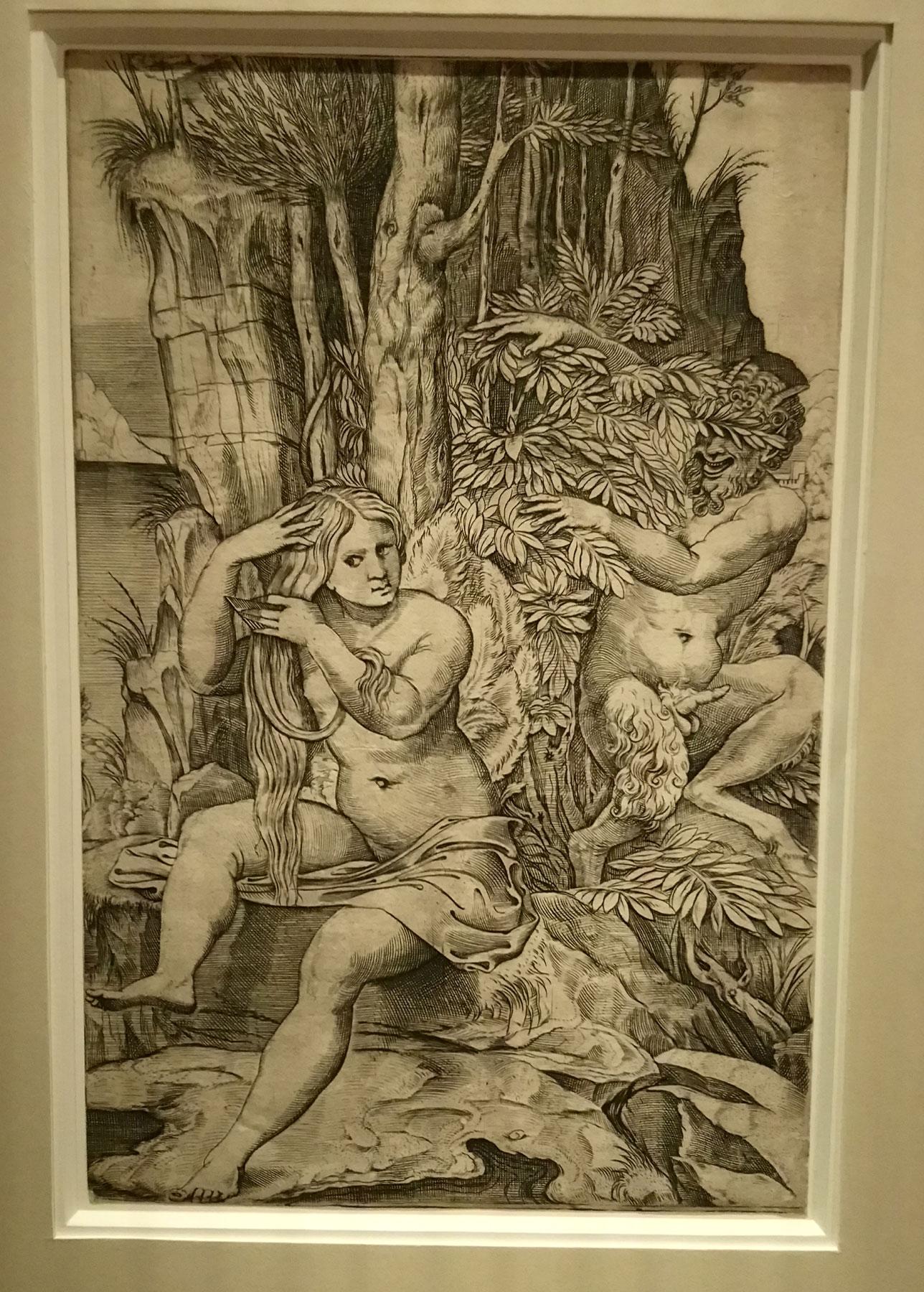 Marco Dente da Ravenna (da Raffaello), Venere e un satiro (1516 circa; incisione a bulino, 262 x 172 mm; Vienna, Albertina)