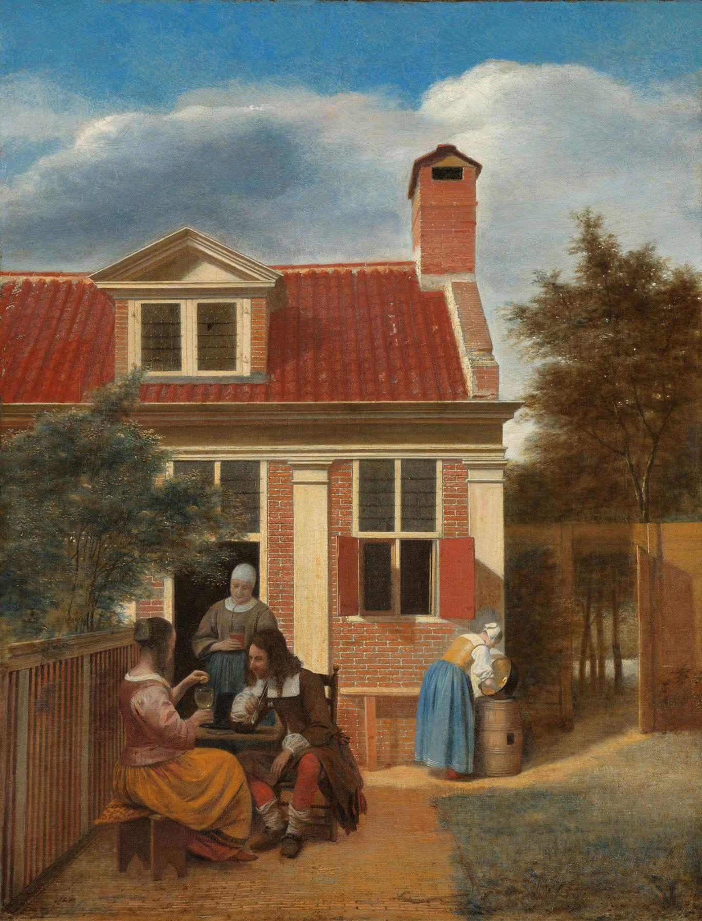 Pieter de Hooch, Figure in un cortile (1663-1665 circa; olio su tela, 60 x 45,7 cm; Amsterdam, Rijksmuseum)