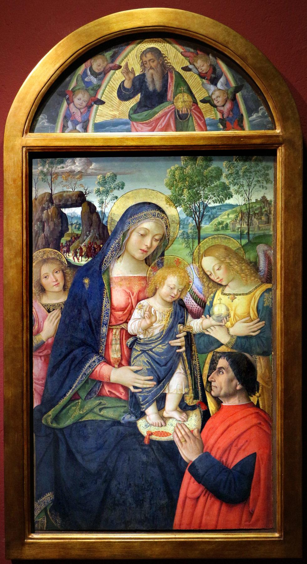 Pinturicchio, Madonna della Pace (1488-1490 circa; tempera su tavola, 94 x 64 cm; San Severino Marche, Pinacoteca Comunale Tacchi Venturi)