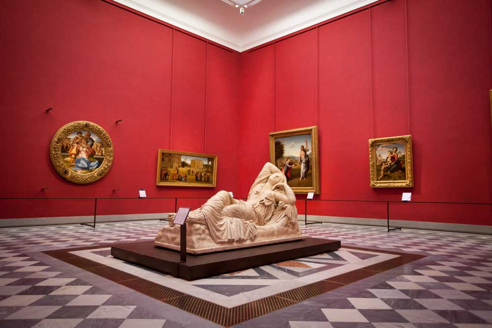 L'allestimento della sala di Michelangelo nella versione di Antonio Natali del 2012. Ph. Credit Friends of the Uffizi Gallery