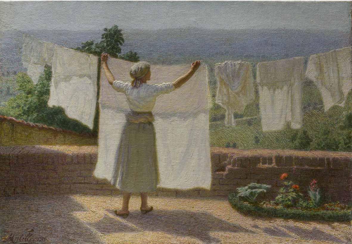 Angelo Morbelli, Distendendo i panni al sole (1916; olio su tela, 43,5 x 62 cm; Collezione privata)