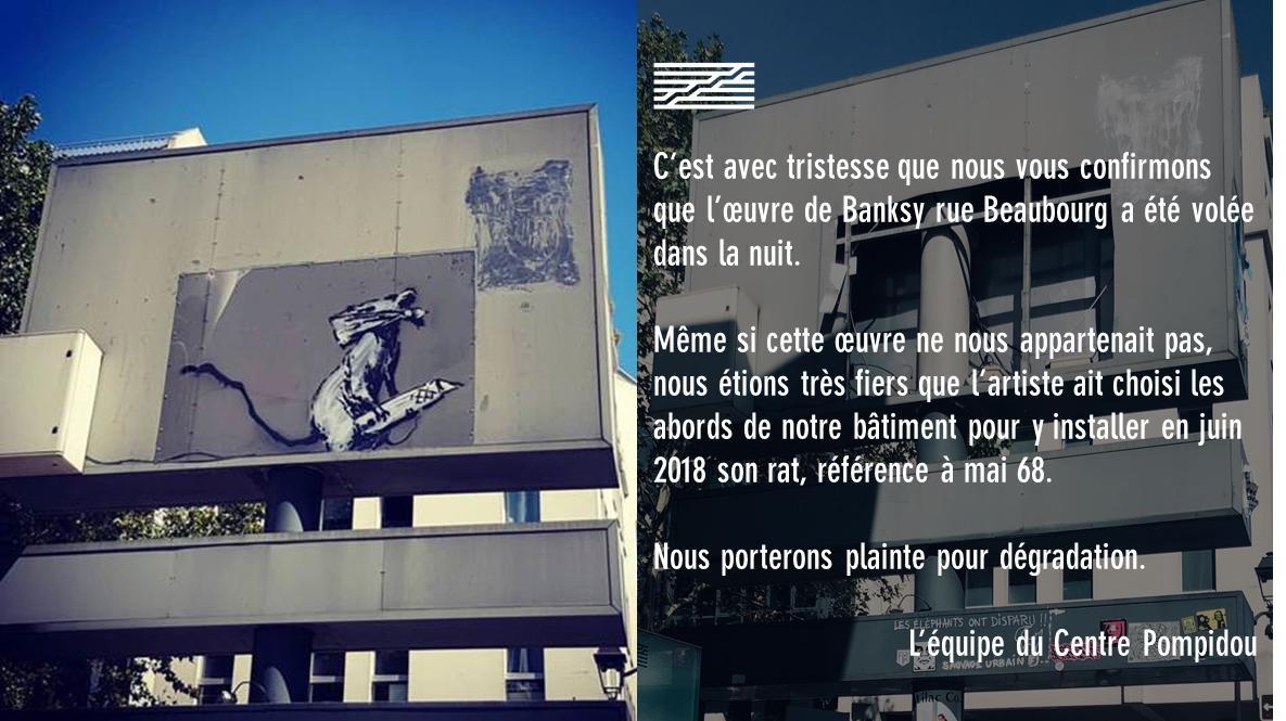 Parigi: rubata un'altra opera di Banksy, al Centre Pompidou
