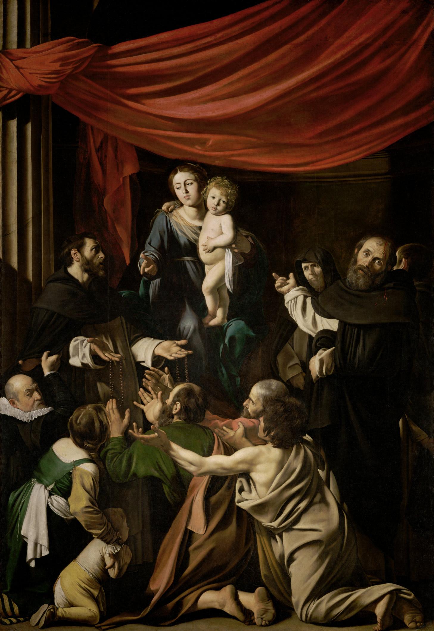 Caravaggio, Madonna del Rosario (1601 circa; olio su tela, 364,5 x 249,5 cm; Vienna, Kunsthistorisches Museum)
