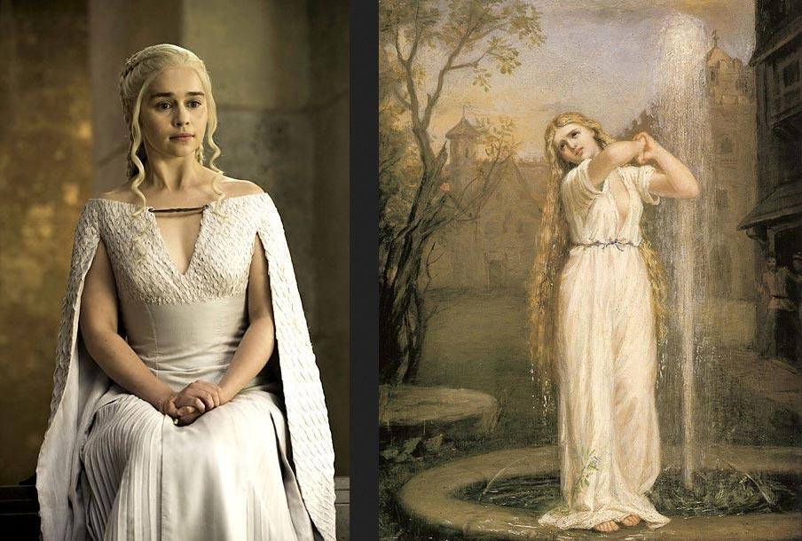 A sinistra: Danaerys Targaryen. A destra: John William Waterhouse, Ondina (1872; olio su tela; Collezione privata)