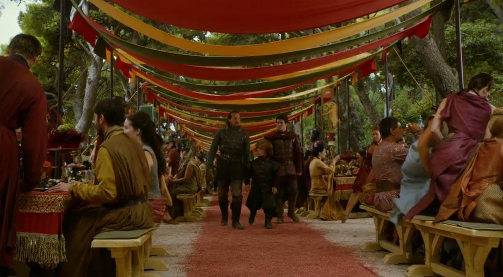 Il banchetto del matrimonio nell'episodio della serie