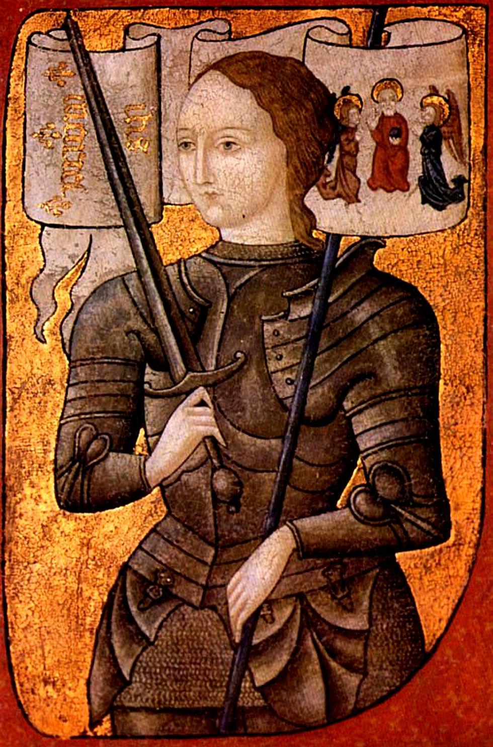 Miniatore francese del XV secolo, Giovanna d'Arco (1450-1500 circa; miniatura a olio su pergamena; Parigi, Archives Nationales)