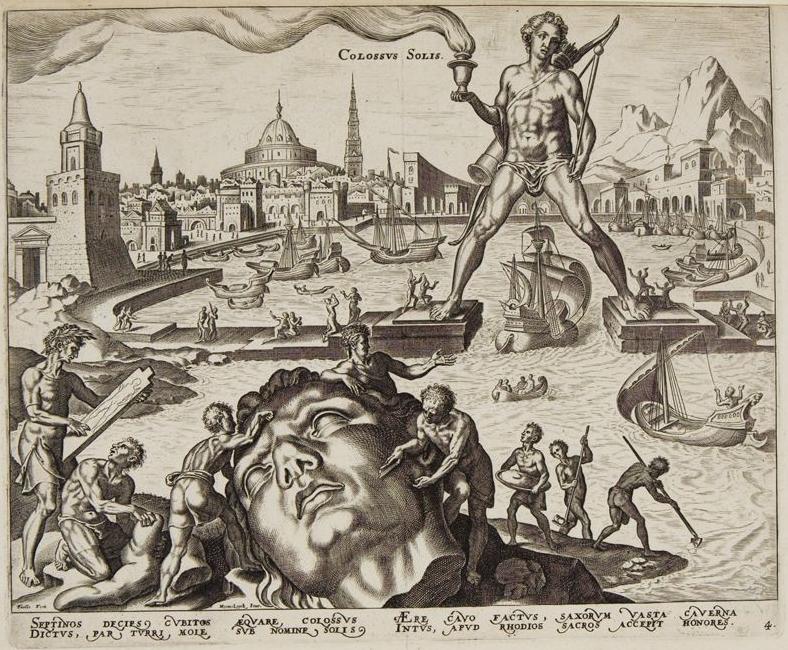 Philipp Galle, da Maarten van Heemskerck, Il Colosso di Rodi, dalla serie delle Otto Meraviglie del Mondo (1572; incisione, 19,9 x 26,1 cm; Rotterdam, Museum Boijmans van Beuningen)
