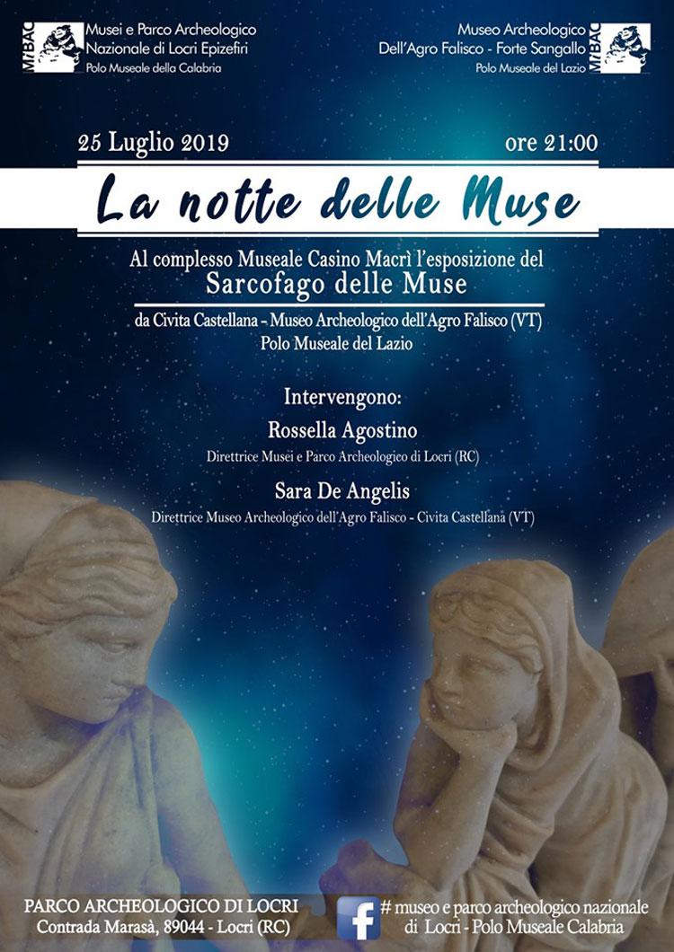 Notte delle muse a Locri: sarà esposto il Sarcofago delle Muse di epoca romana