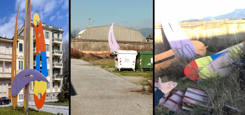 """Viareggio, la denuncia: """"opera di Giulio Turcato rimossa e gettata come un rifiuto tra le erbacce"""""""