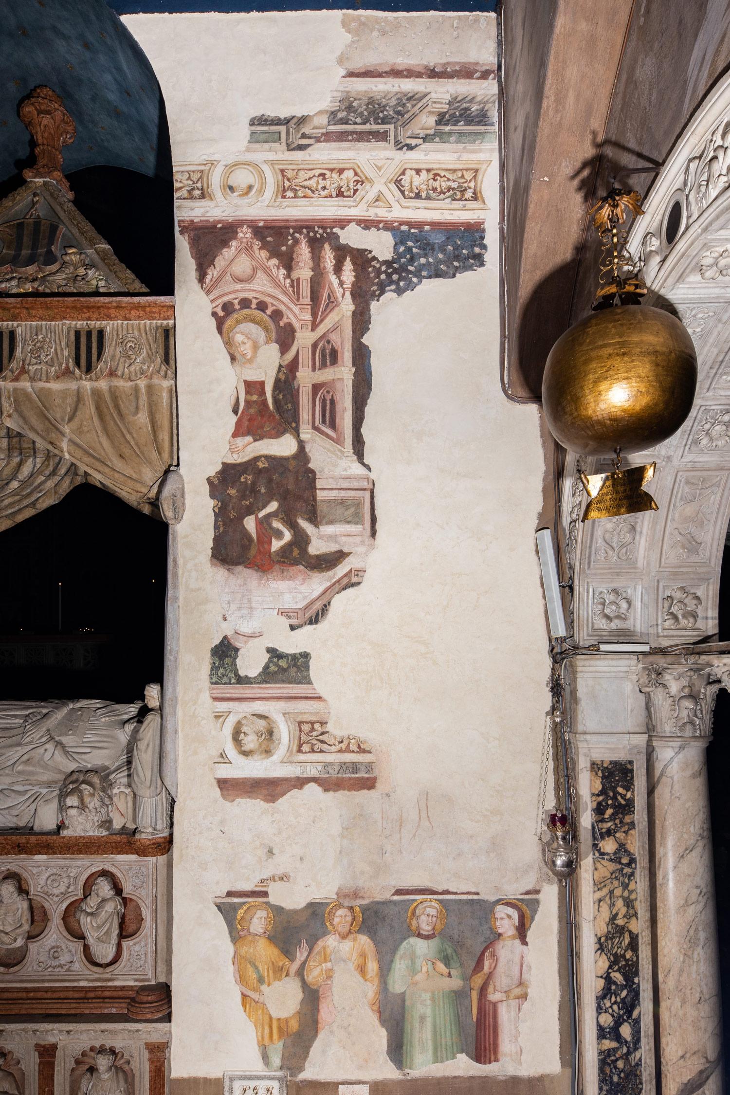 La parete con gli affreschi