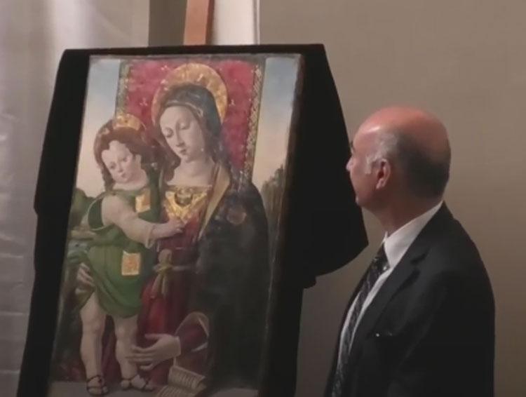 Torna a Perugia dopo trent'anni la Madonna col Bambino attribuita a Pinturicchio trafugata nel 1990
