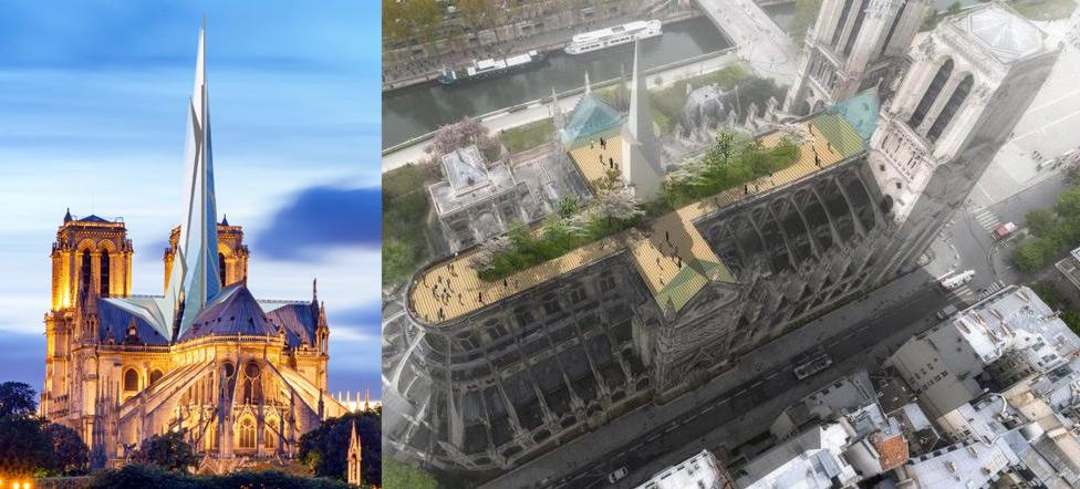 Notre-Dame, i progetti di ricostruzione più bizzarri e originali, dal roof garden alla guglia fatta di luce o vetro