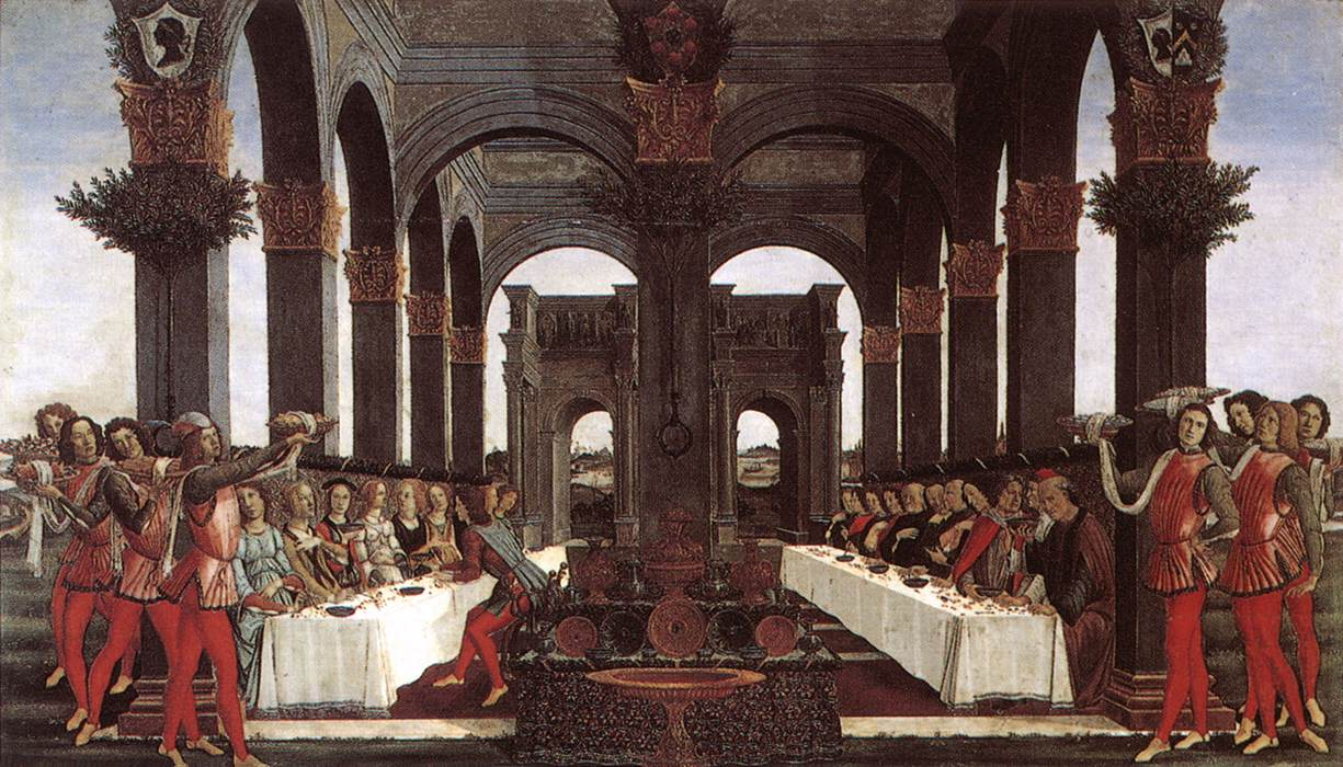 Sandro Botticelli, Le nozze di Nastagio degli Onesti (1483; tempera su tavola, 83 x 142 cm; Firenze, Collezione Pucci)