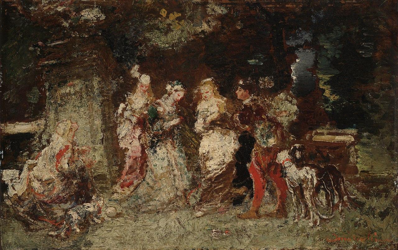 Adolphe Monticelli, Scena in un giardino (1875-1878 circa; olio su tavola, 39,4 x 61,9 cm; New Haven, Yale Art Gallery)