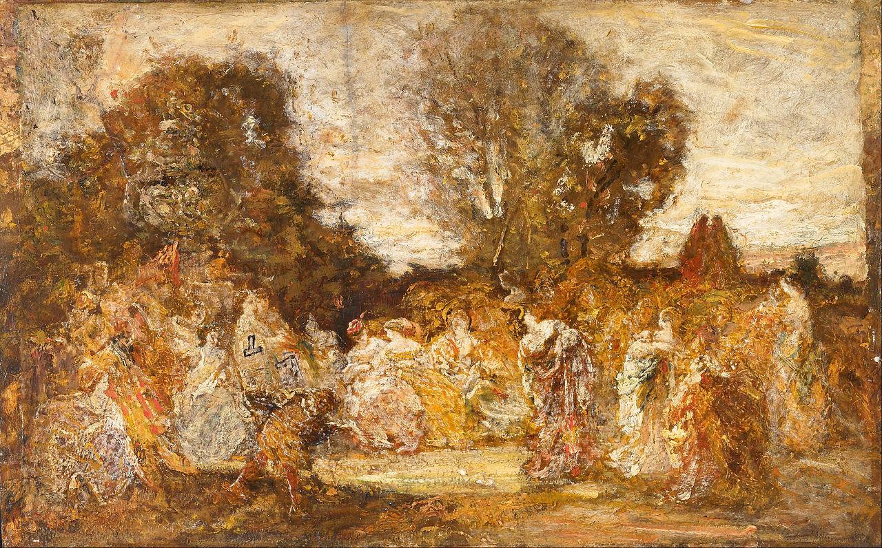 Adolphe Monticelli, Signore in giardino (1870; olio su tavola, 38,7 x 61,7 cm; Liverpool, Walker Art Gallery)