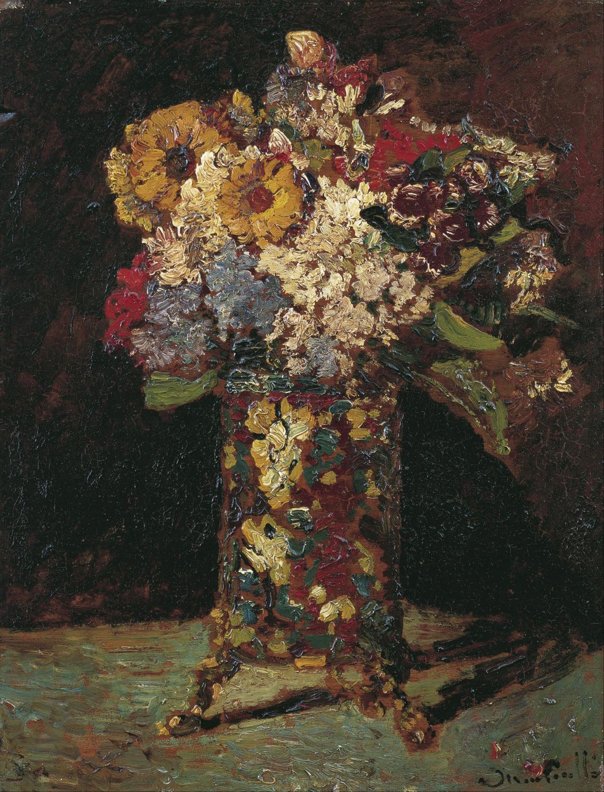 Adolphe Monticelli, Vaso con fiori (1875 circa; olio su tavola, 51 x 39 cm)