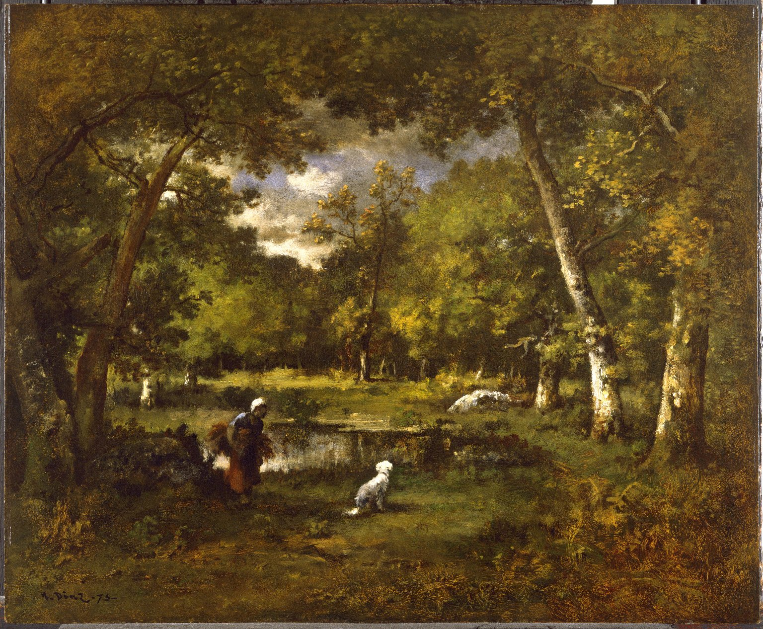 Narcisse Díaz de la Peña, Stagno a Fontainebleau (1875; olio su tavola, 45,4 x 55,7 cm; New York, Brooklyn Museum