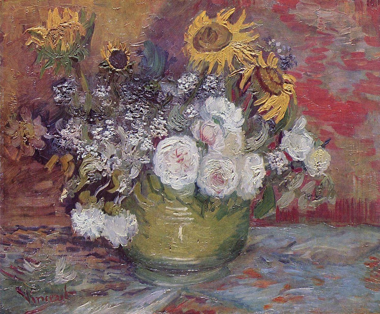 Vincent van Gogh, Bacile con girasoli, rose e altri fiori (1886; olio su tela, 50 x 61 cm; Mannheim, Kunsthalle)