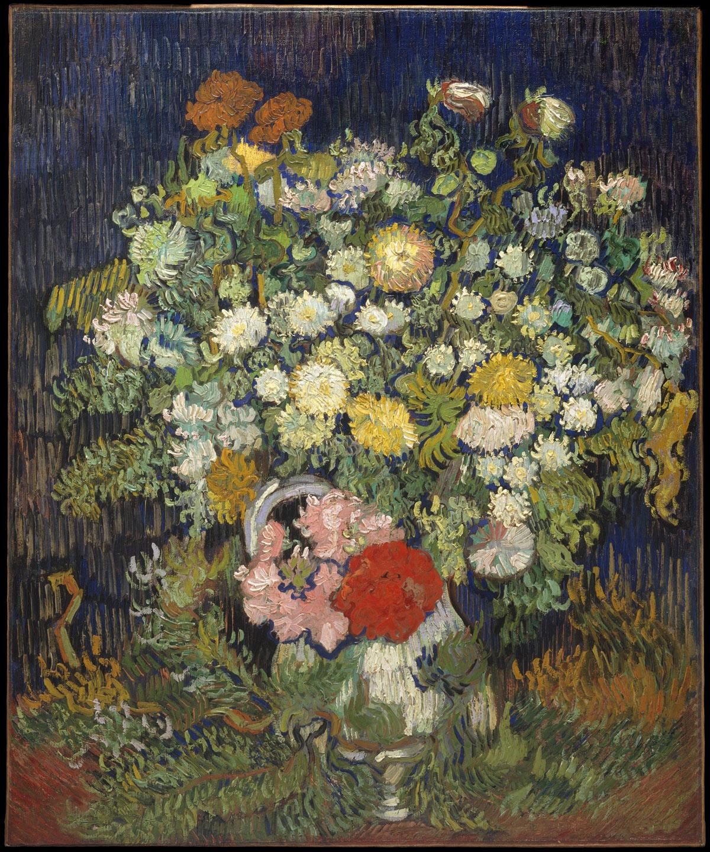 Vincent van Gogh, Bouquet di fiori in un vaso (1887?; olio su tela, 65,1 x 54 cm; New York, Metropolitan Museum)
