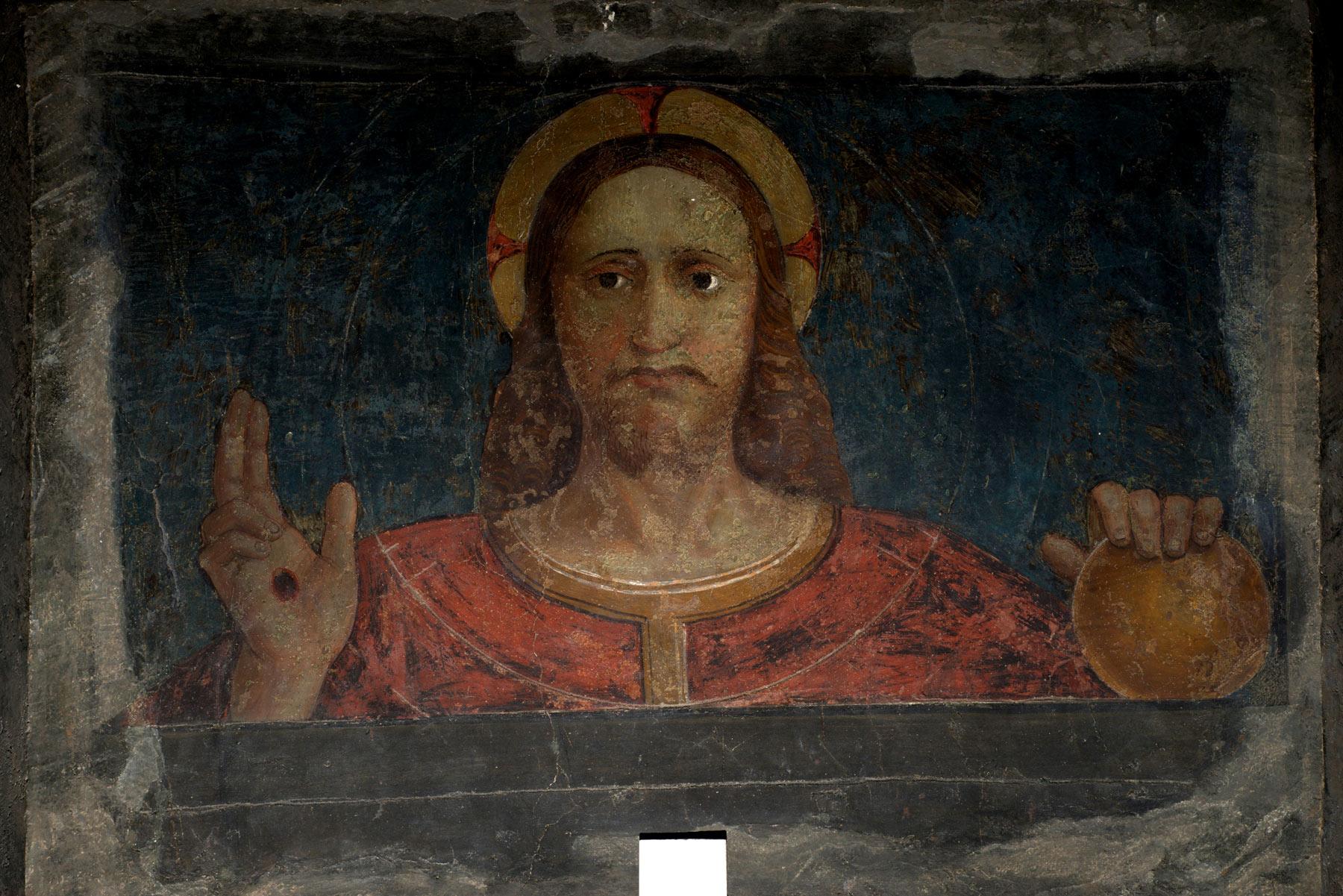 Cola dell'Amatrice, Cristo benedicente (1520-1530 circa; affresco staccato a massello dalla chiesa di Santa Margherita, 77 x 97 cm; Ascoli Piceno, Pinacoteca Civica)