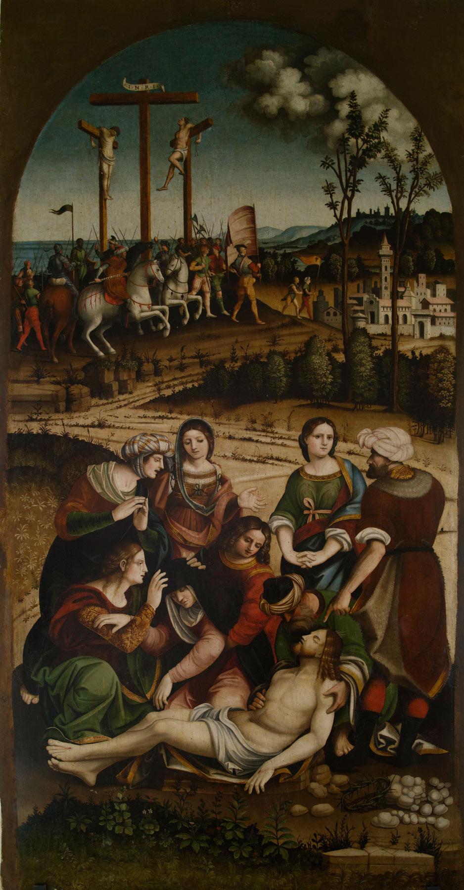 Vincenzo Pagani, Compianto sul Cristo deposto (1529; olio su tavola centinata, 277 x 148 cm; Sarnano, Pinacoteca Civica – Rete Museale dei Sibillini)