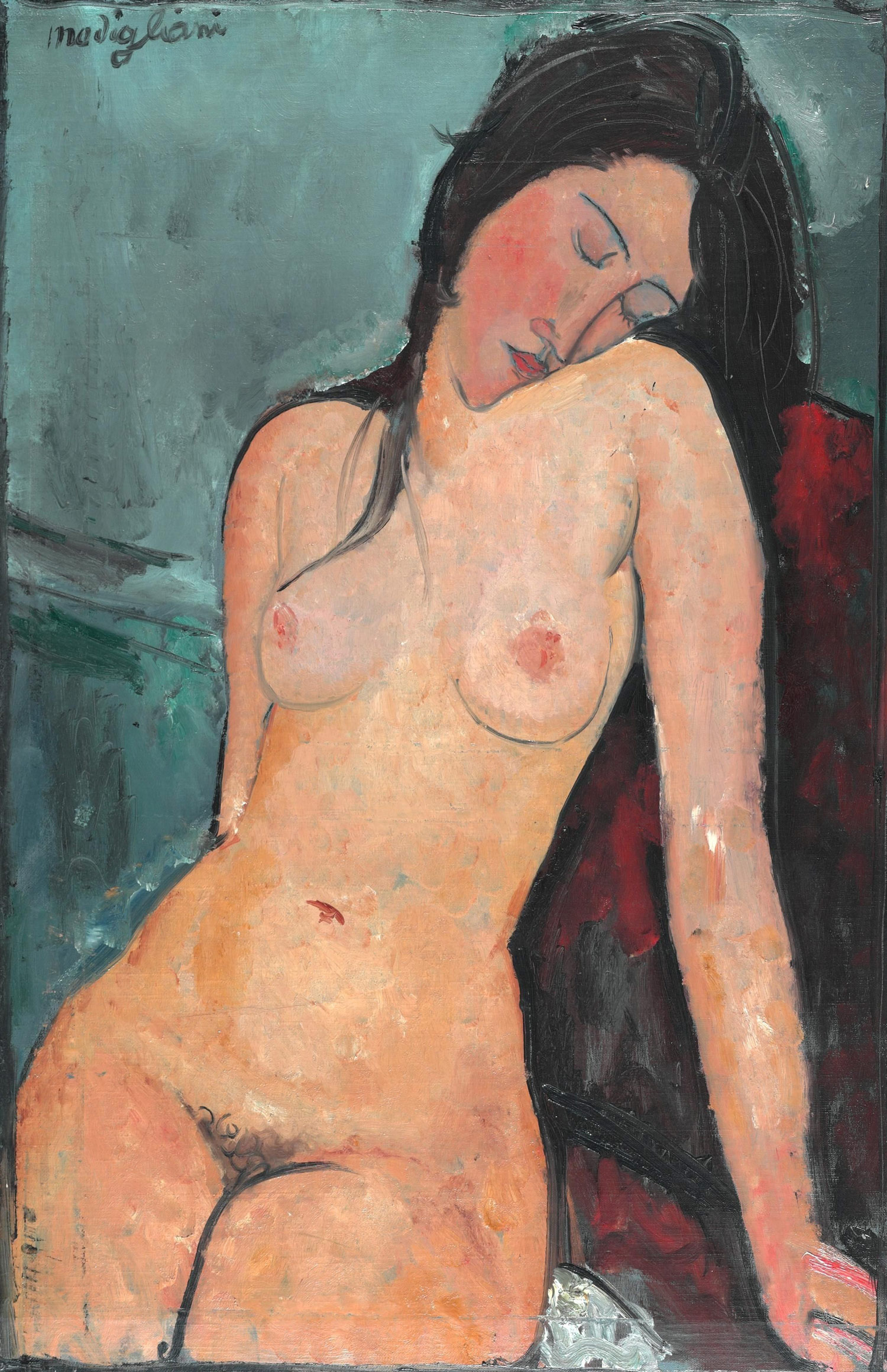Amedeo Modigliani, Nudo seduto (Beatrice Hastings?) (1916; olio su tela, 92 x 60 cm; Londra, Courtauld Gallery)