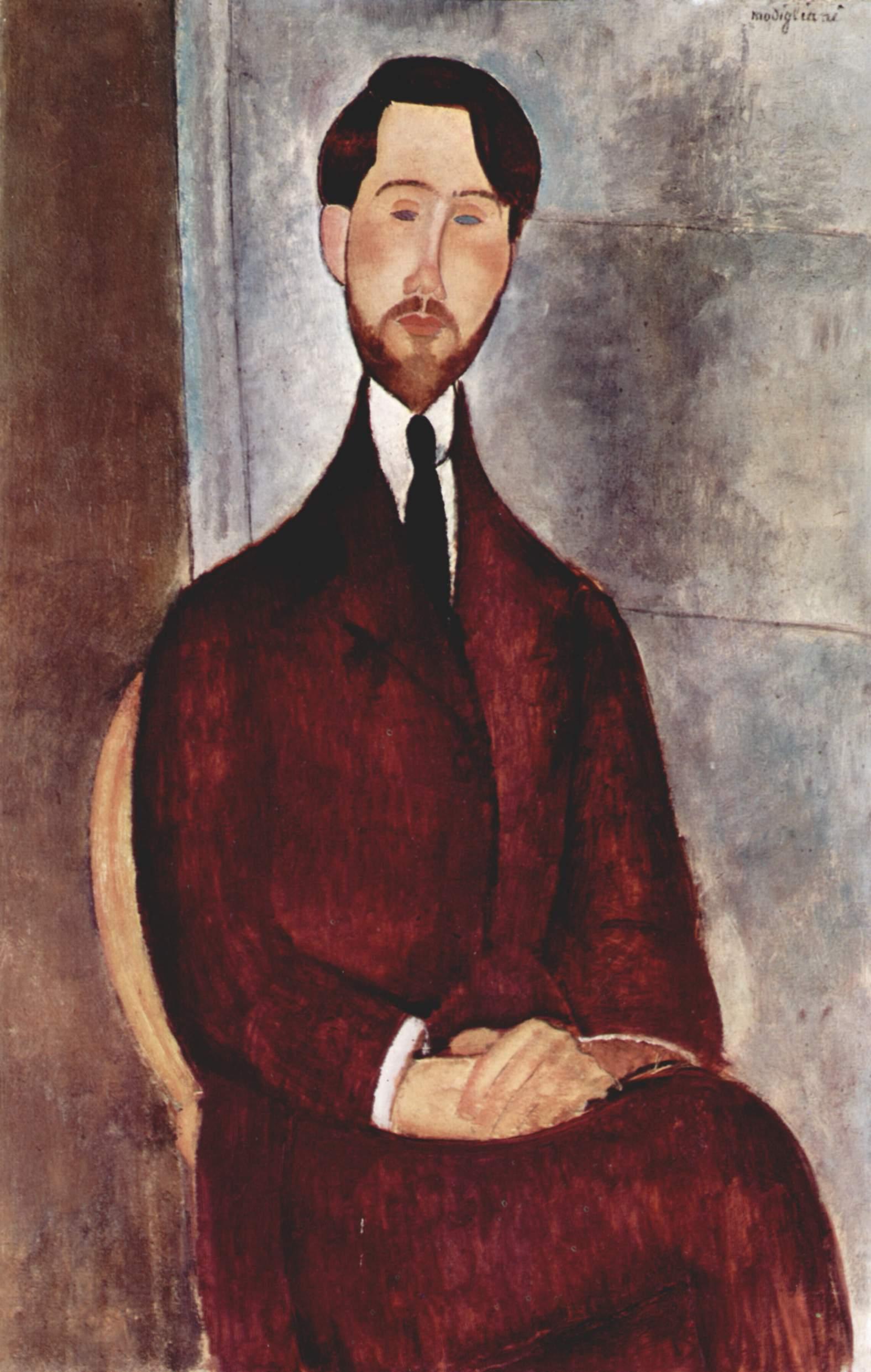 Amedeo Modigliani, Ritratto di Léopold Zborowski (1916; olio su tela, 100 x 65 cm; San Paolo del Brasile, Museo d'Arte di San Paolo)