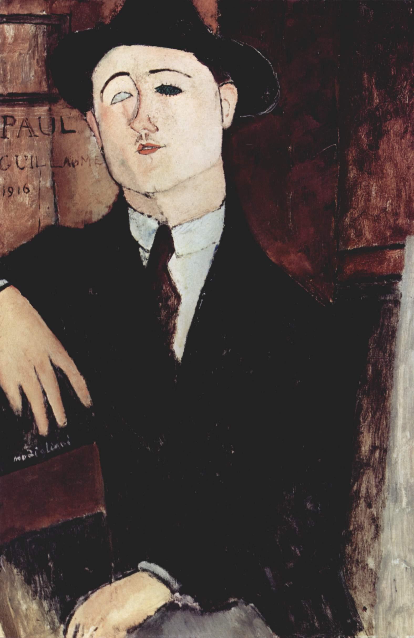 Amedeo Modigliani, Ritratto di Paul Guillaume (1916; olio su tela, 81 x 54 cm; Milano, Museo del Novecento)